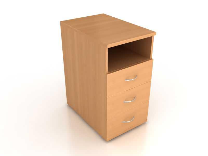 Тумба приставная 3 ящика+ниша Лайт