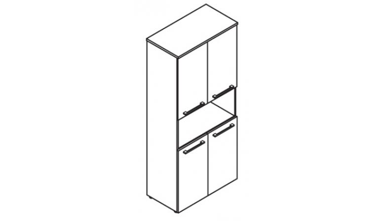 Шкаф с 2-мя комплектами глухих малых дверей с замком DHC 85.4(Z)