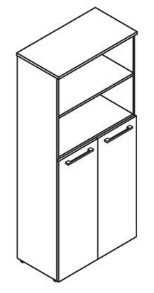 Шкаф с глухими средними дверьми DHC 85.6