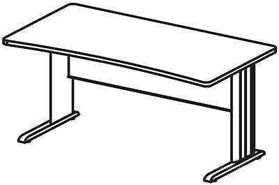 БЕРЛИН Стол прямоугольный на метал. опоре глубиной 65 см
