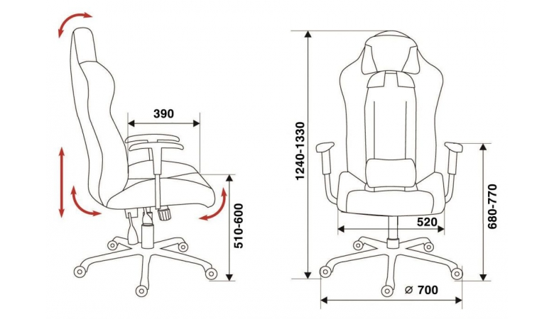 Кресло Бюрократ 771/Grey+bl