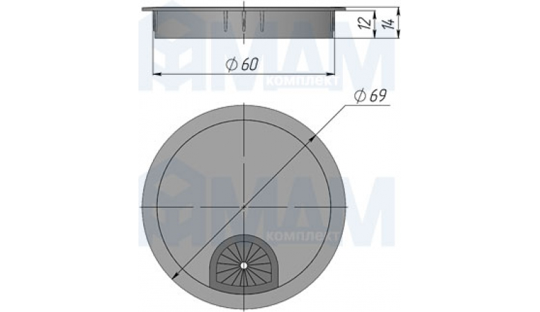 Заглушка кабель-канала, металлическая 361-60 CR